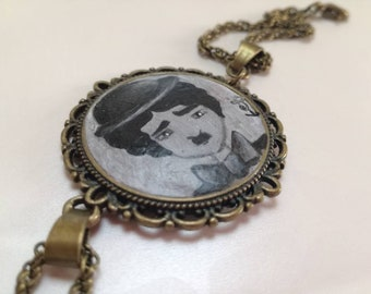 Charlie Chaplin/handmade polymer clay bracelet/hand painted/unique piece of Italian handicraft/art to wear