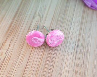Pink and glitter marbled polymer clay stud earrings