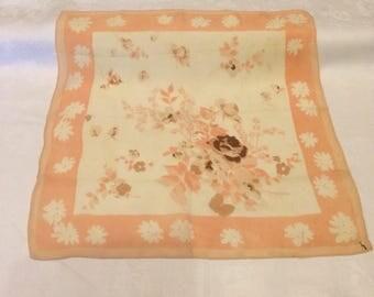 30s 40s vintage silk crepe lady's hankie. Delicately coloured floral design.