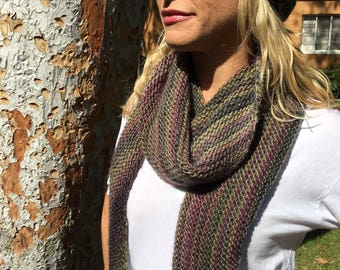 Asymmetrical scarf and hat of gorgeous variegated colors