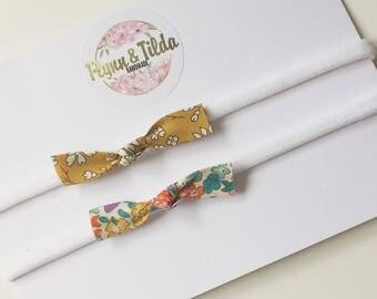 Liberty print mini knot bow baby headbands