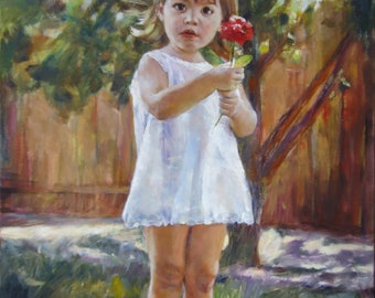 Turn photo into painting on canvas, commission painting from photo, custom child portrait, kid portrait on canvas, family custom art