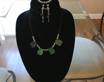 Genuine stone necklace with matching bracelet and earings.