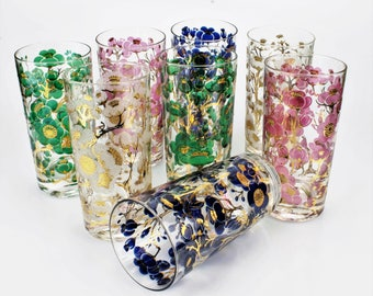 Vintage Set of 8 Midcentury/Hollywood Regency Style Signed Fred Press Multicolor with Gold Accents Dogwood/Floral Highball Glasses