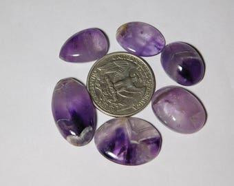 6  Pcs Lot! Natural Amethyst Cabochons Amazing Quality Amethyst Gemstone Top Quality Amethyst loose stone Lot 100% Natural 73cts.