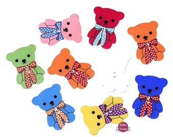 5 lovely buttons bear cub large model - 2 holes wooden 3.2 cm