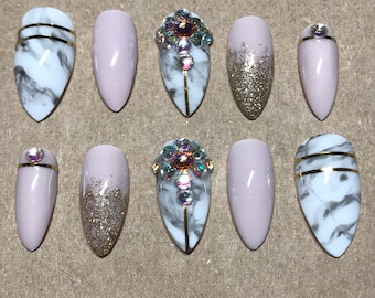 Glue Included | Nude Pink Marble Gold Swarovski Crystal Accent Press On Nails | Glue On Nails | Fake Nails | False Nails