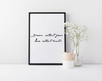 Framed Romantic Quote Wall Art | Dream Without Fear Love Without Limits |  Inspirational Quote Print | FREE UK SHIPPING | A4 & A3 Size