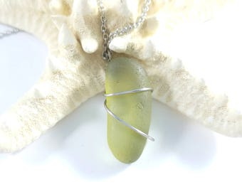 Sea Glass Necklace, Wire Wrapped Sea Glass, Genuine Beach Glass, Wire Wrapped Necklace, Green Beach Glass, Beach Glass Necklace