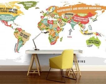 world map education, kids world map, funny world map, education world map decal, world map wall mural, funny world map, world map wallpaper