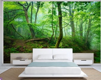 FOREST WALL MURAL, trees wall mural, fog forest mural, green forest mural, self-adhesive , pine wall mural, vinly wall mural, forest decal
