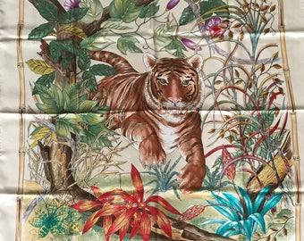 1970's Gucci Tiger in Jungle Silk Scarf