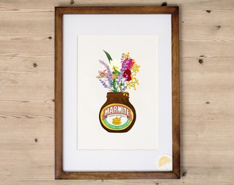 Marmite Flowers   An Illustrated Art Print   Hand Drawn By Poppins & Co