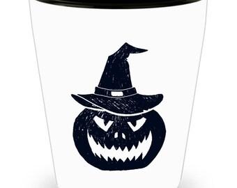 Halloween Shot Glass, Jack o' Lantern Halloween Party Shot Glass, Single, Set of 2 or Set of 4 Available