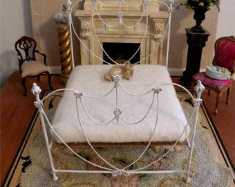 "Artisan Made Dollhouse Miniature Wrought Iron Look Bed ""AISLINN"" 1:12 Scale Twin and Full, Half Scale"