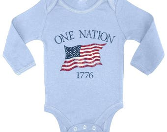 USA One Nation 1776 Baby Long Sleeve Bodysuits One Piece  USA Bodysuit Tops American Flag Independence Day Fourth of July
