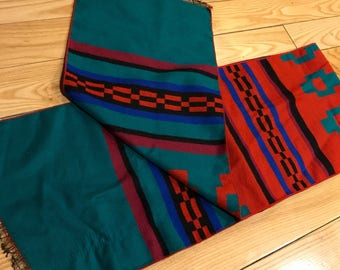 Vintage Aztec Mexico style Scarf double sided Green and red pattern Super warm 1990's