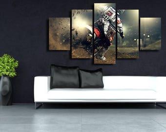 Motocross Wall Art, Motocross Canvas Art, Motocross 5 Piece Canvas Print, Motocross Large Canvas Art, Motocross Wall Decor, Framed