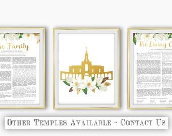Set of 3 LDS Bountiful Utah Temple The Family Proclamation The Living Christ Magnolia Flower Gold Digital Print Art Printable Art Wall Decor