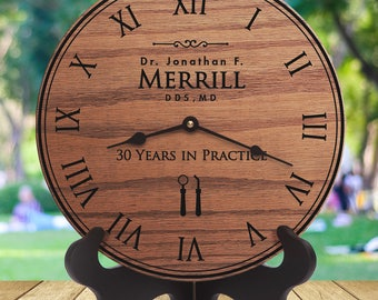 Gifts For Dentists Office - Gifts For Dental Office - Gifts For An Orthodontist - Personalized and Laser Engraved Clock - Dentist Gift