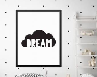 Dream Print, Nursery Prints, Nursery Wall Decor, Nursery Art, Baby Room Decor, Kids Wall Art, Digital Print Wall Art, Quote Prints