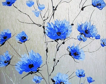 Blue flowers 12 x 6 acrylic on aluminum natural / Blue flowers 12 in x 6 in acrylic painting on natural aluminum