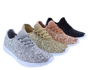 Glitter Sneakers // Glitter Kicks // Women's Glitter Shoes // Rose Gold Tennis Shoes // Glitter Tennis Shoe // Personalized Shoes