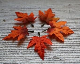 Set of 5 fabric orange leaves for floristic design. Fabric leaf of maple. Autumn leaves. Autumnal fabric realistic leaves. Stuff for wreath.