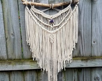 Macrame wall hanging, large, amethyst cluster, boho decor, angel wings, earthy, organic