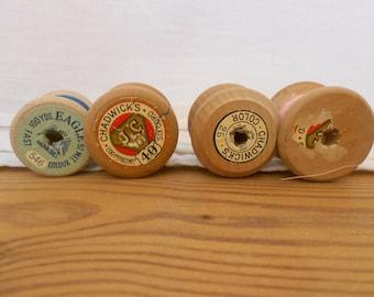 4 Thread Spools, Wabi Sabi Spools, Sewing Thread, Chadwicks Spools, Wooden Spools, Sewing Decor, Craft Spools