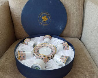 Gorgeous Set of 6 Caffe Cups and Saucers from Emporium. NEW Boxed