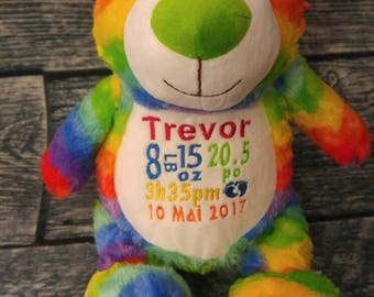 Teddy / Teddy bear birth personalised bear multi color rainbow stuffie. birth gift. personalized gift. baby shower
