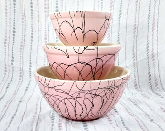 Hull Pottery Pink Atomic Drizzle Bowls, Set of 3