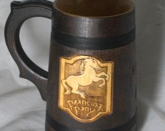 The Prancing Pony wooden Beer Mug  0.6L (20,3 us fl oz)  Lord of the Rings mug Prancing Pony Pub Inspired Stein Beer tankard Groomsmen Gift