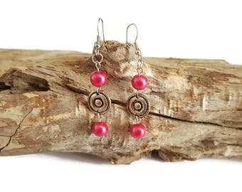Earrings fuchsia beads
