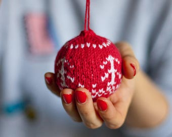 Christmas decorations Christmas balls Knit balls Knit Christmas decorations Christmas ornament decor holiday gift x-mas ball