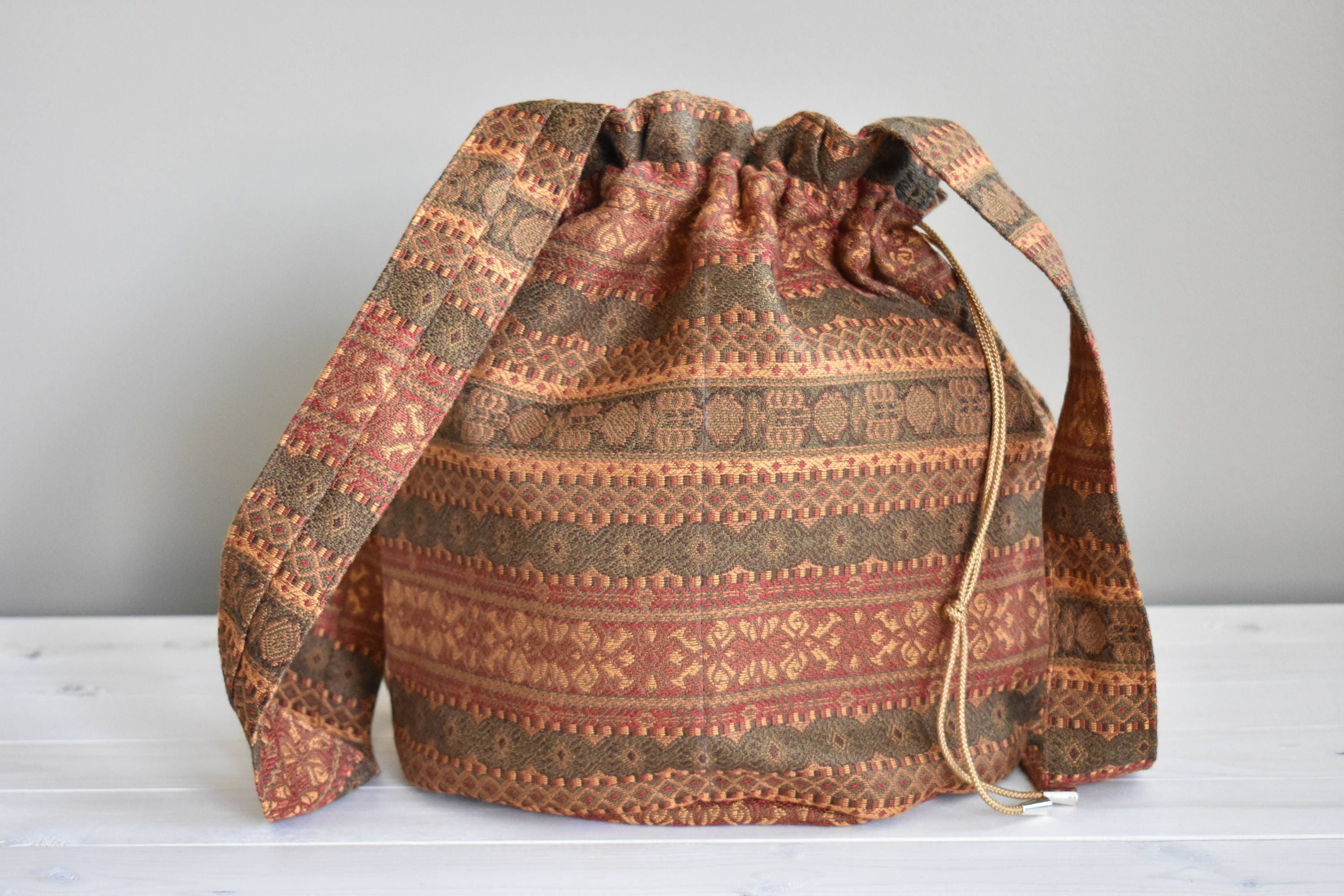 Knitting Project Bags For Sale : Sale baroque drawstring project bag medium