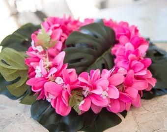 Deluxe SILK FLOWER LEI - All Pink Plumerias