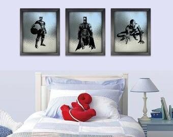 Action Hero Metalic Art Print Set of 3