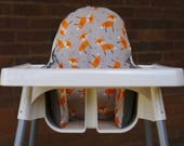 IKEA High Chair Cover To Fit Antilop Pyttig Cushion Insert - First Birthday Highchair Decor - Pear of Stitches - Cute Orange Tribal Fox