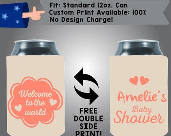 Welcome to the World Name's Gender Reveal Baby Shower Collapsible Fabric Baby Shower Can Cooler Double Side Print (BS135)