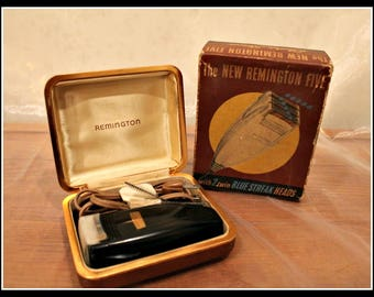 Vintage The New Remington Five With 2 Twin Blue Streak Heads Electric Shaver, Remington Shaver in Case and Original Box, Shaving, Razor