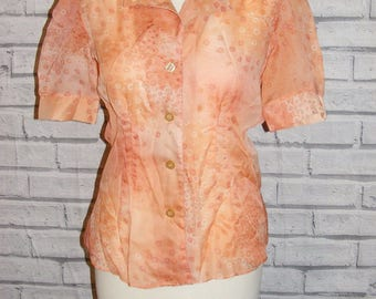 Size 10 vintage 60s short puff sleeve collared sheer orange floral print (HT63)
