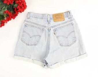 Vintage LEVI'S Shorts 90's Levi Jeans High Waist Shorts Cuffed 954 Denim Sz 28/29