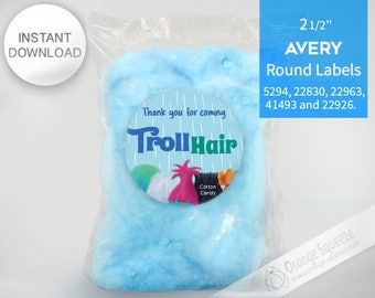 """Trolls Cotton Candy - 2 1/2"""""""" Round Labels Printables on AVERY - INSTANT DOWNLOAD, Stickers, Trolls Hair, Trolls Party, Trolls labels"""