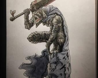 Berserk anime / manga Armor Guts 8.5 x 11 gloss art print
