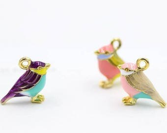 Bird Charms, 5PCS, 14*17MM, Enamel Charm, Animal Charm, Jewelry Supplies, Craft Supplies, DIY Findings