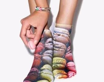 Macaroon printed ankle socks
