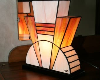 """Lamp Art Deco stained glass Tiffany """"Powder pink"""""""