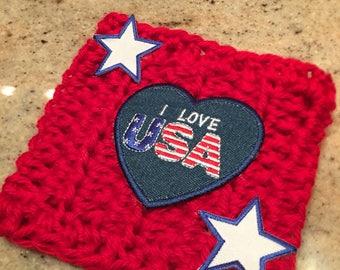 Handmade Crochet USA Summer Drink Cozy